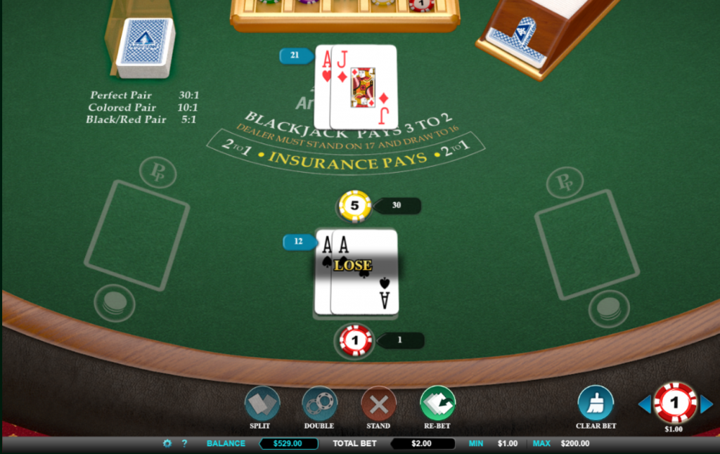 Perfect Pair Blackjack