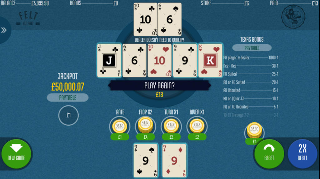 Texas Hold'em Bonus Poker Bonus Payout