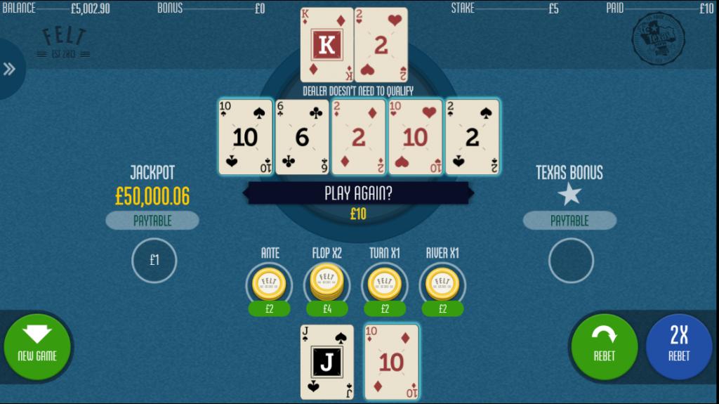 Texas Hold'em Bonus Poker Main Game