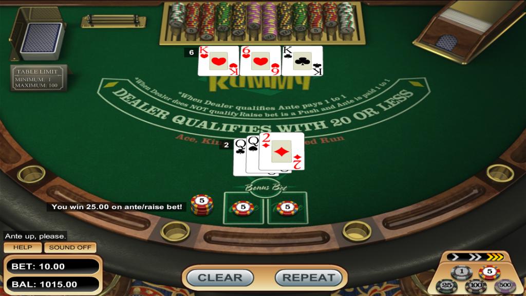 Vegas Three Card Rummy 2 Point Hand