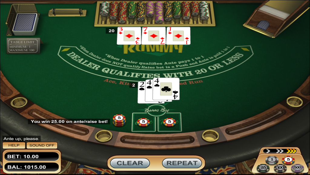 Vegas Three Card Rummy Main Game