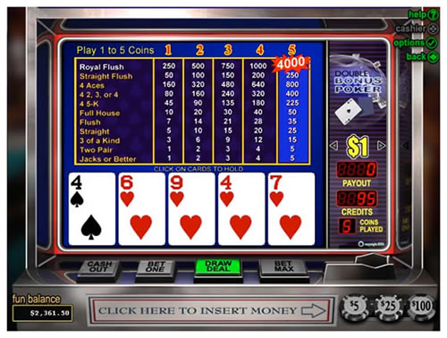 Video Poker low pair or flush draw.