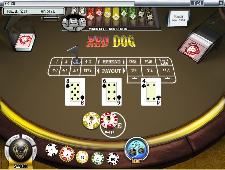 Red Dog 3-Card Spread