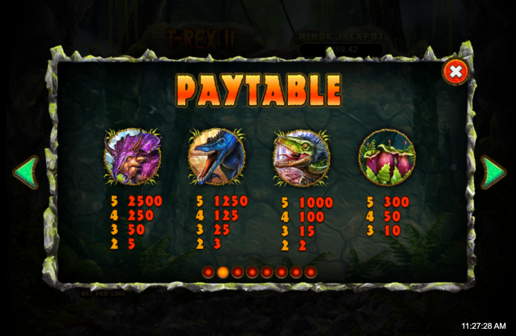 T-Rex II slots paytable