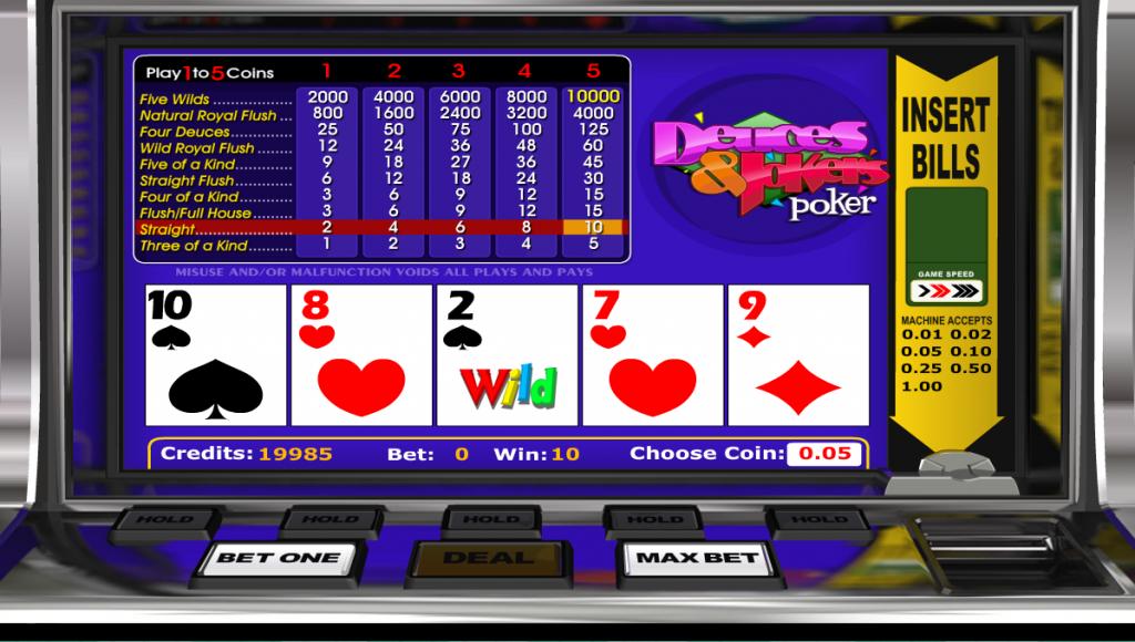 Deuces and Jokers Video Poker