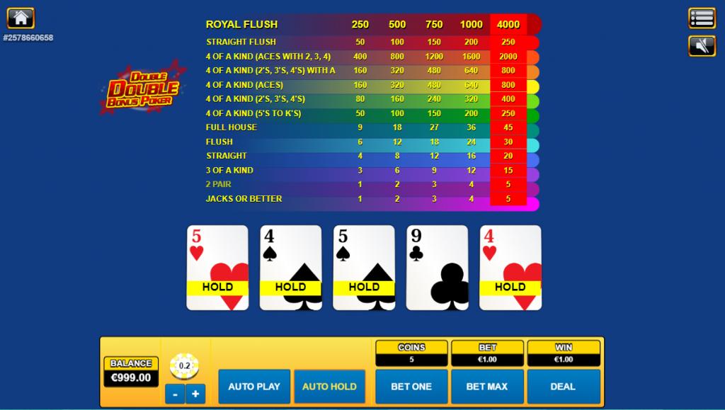 Double Double Bonus Video Poker