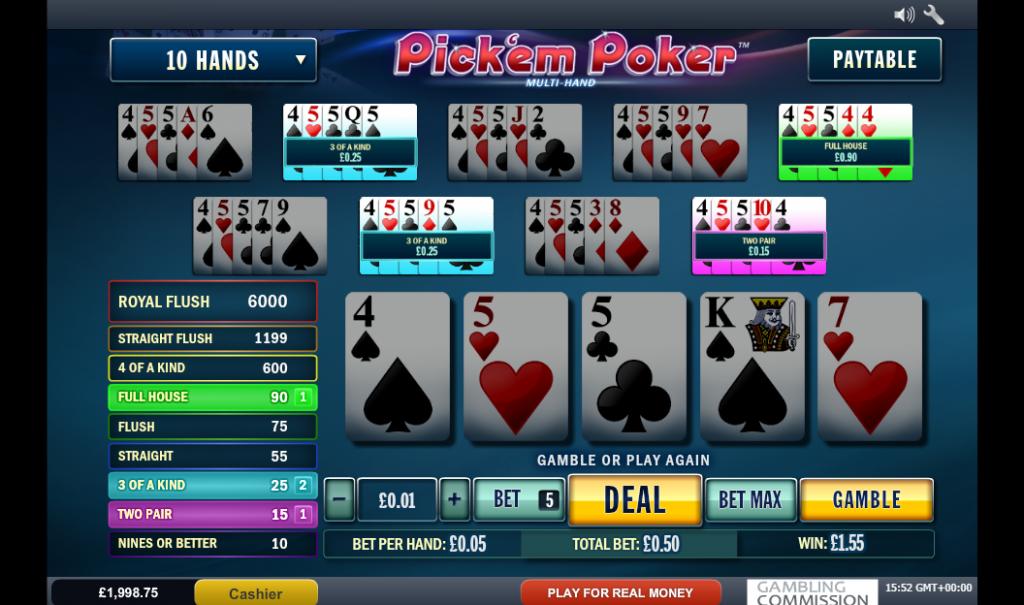 Pick'em Poker Video Poker