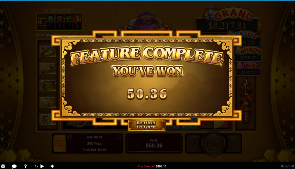 Plentiful Treasure Bonus Game Winner