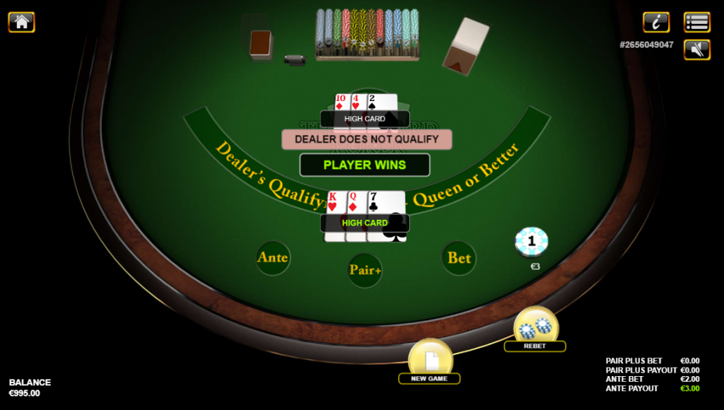 Three Card Poker Dealer Does Not Qualify