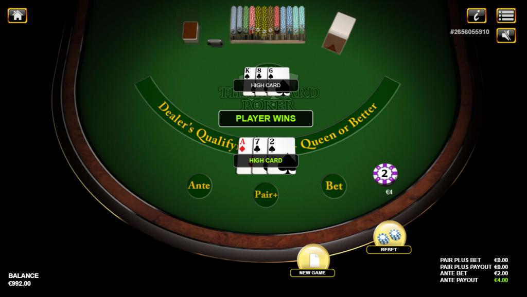 Three Card Poker Main Game