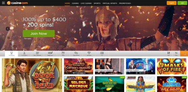 Casino.com $400 Bonus + 200 Free Spins