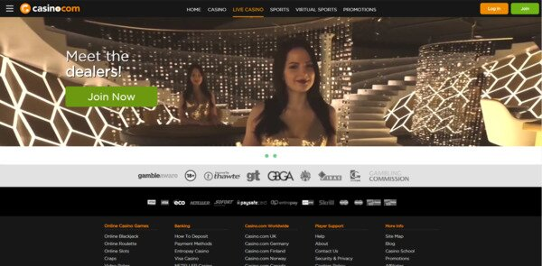 Casino.com Live Dealer Games