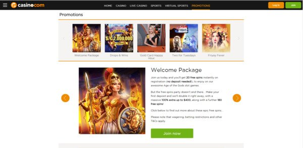 Casino.com Welcome Package