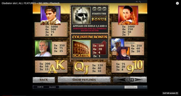 Gladiator Slots Playtech