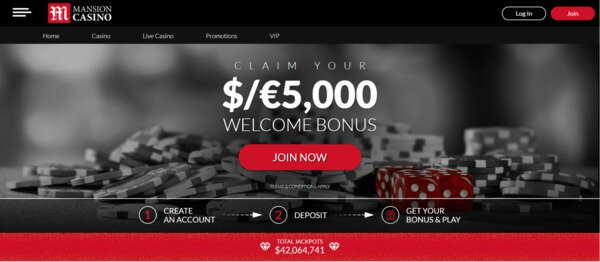 Mansion Casino $5000 Welcome Bonus