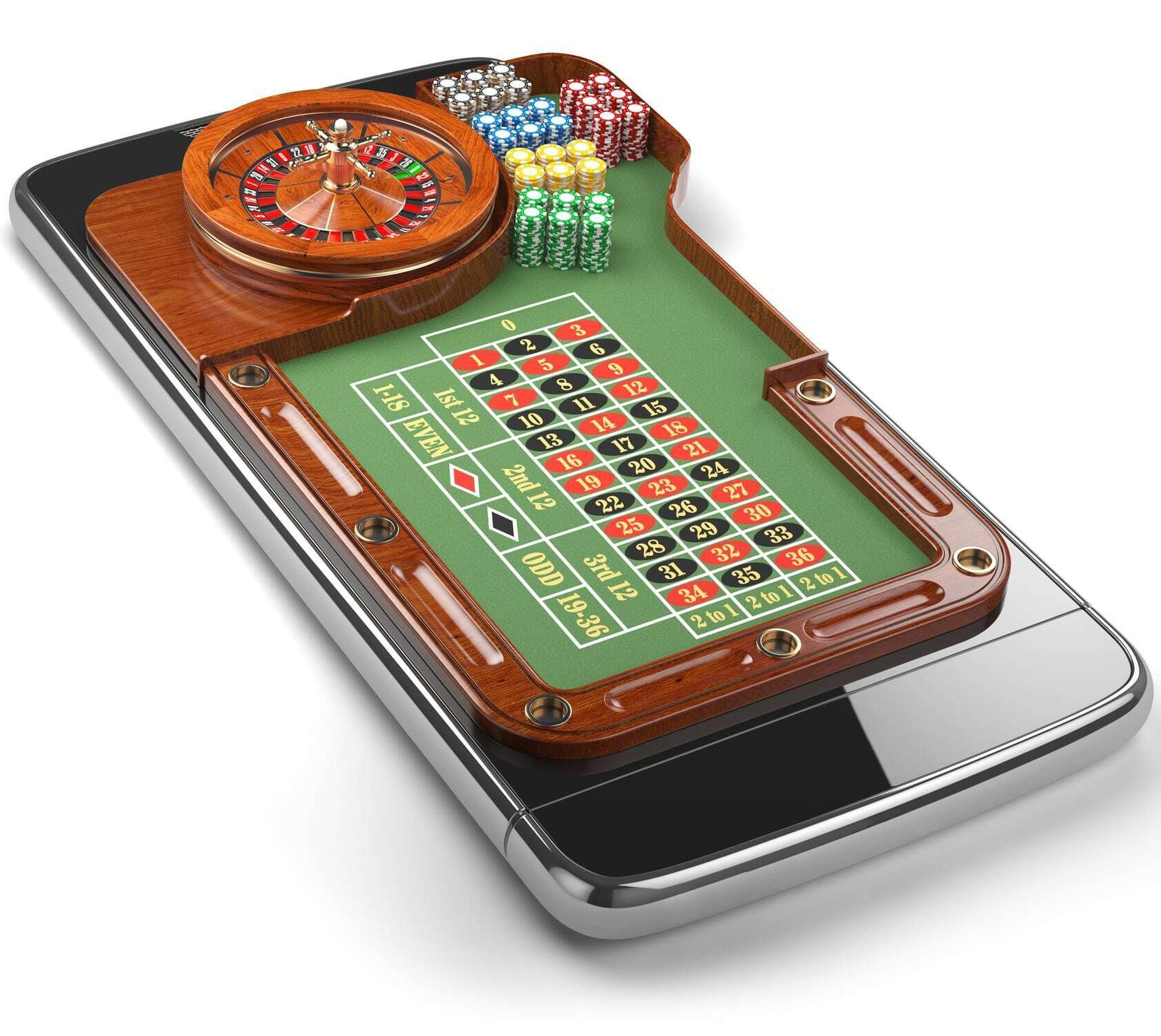 Roulette Table and Roulette Wheel on a Mobile